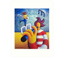 Two soft musicians with musical notes(impasto) acrylic Art Print