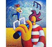 Two soft musicians with musical notes(impasto) acrylic Photographic Print