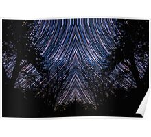 Native Star Trails Timelapse Night Sky Pattern over Forest Poster