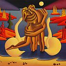 The red island Lovers ,acrylic on canvas panel by Alan Kenny