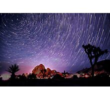 Amazing Galaxy Star Trails Spin Over Joshua Tree Photographic Print