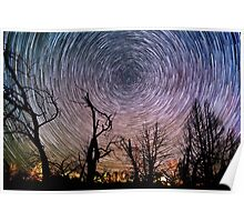 Beautiful Polaris Star Trails Over Burnt Forest Poster