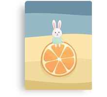 Cute bunny on orange Canvas Print