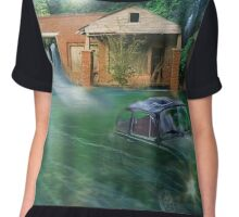 Surreal Montage Print - Rushing Water Highway Chiffon Top