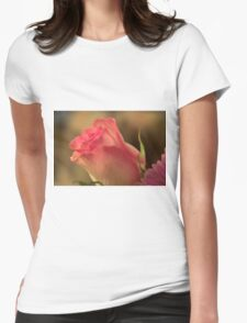 Soft Pink and White Rose, As Is Womens Fitted T-Shirt