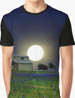 Moon Glow in Bluebonnet Country Photo Print Graphic T-Shirt
