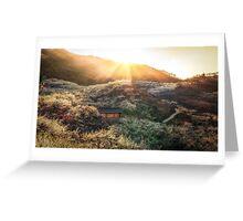 Plum Flower Village at Sunset Greeting Card