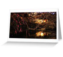 Plum flower village night reflection Greeting Card