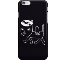 Cat with music in its head (white) iPhone Case/Skin