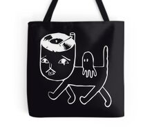 Cat with music in its head (white) Tote Bag