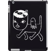 Cat with music in its head (white) iPad Case/Skin