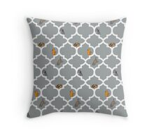 Cats On A Lattice - Grey Throw Pillow