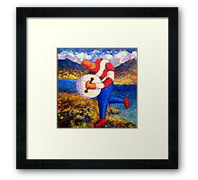 Bodhran player in landscape impasto Framed Print