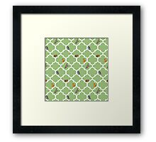 Cats On A Lattice - Green Framed Print