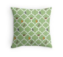 Cats On A Lattice - Green Throw Pillow