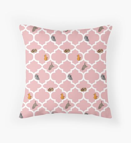 Cats On A Lattice - Pink Throw Pillow