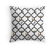 Cats On A Lattice - White Throw Pillow