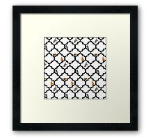 Cats On A Lattice - White Framed Print