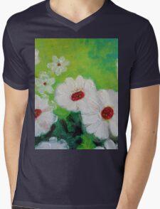 Abstract Daisies Acrylic Painting Mens V-Neck T-Shirt