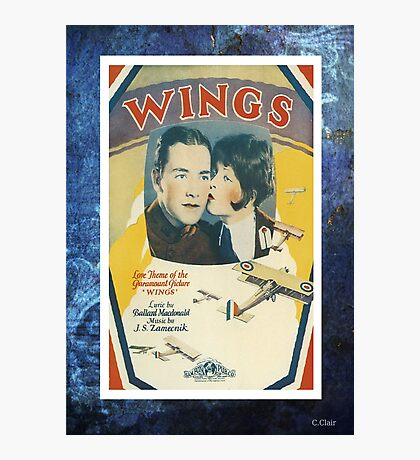 Wings Flying Airplane Vintage Piano Sheet Music Photographic Print
