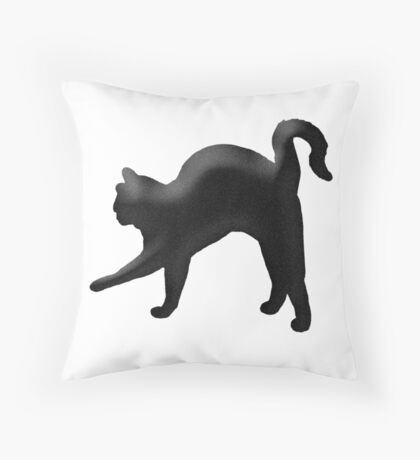 Arched back cat Throw Pillow