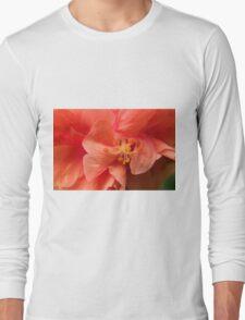 Orange Hibiscus Macro Long Sleeve T-Shirt