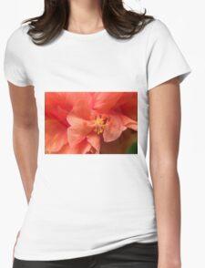 Orange Hibiscus Macro Womens Fitted T-Shirt