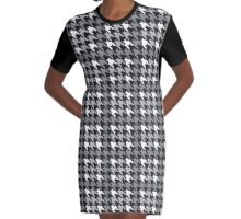 Plaid Houndstooth Graphic T-Shirt Dress