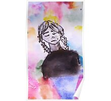 Girl with a Rainbow Background Poster