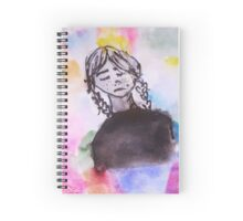 Girl with a Rainbow Background Spiral Notebook