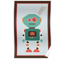 Fun Retro Robot Art Poster