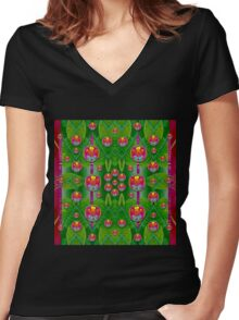 Orchid Forest Filled of big flowers and chevron Women's Fitted V-Neck T-Shirt