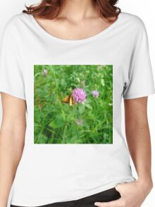 Skipper and Pink Wildflower  Women's Relaxed Fit T-Shirt