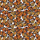 Monarch flock of butterlies by Veera Pfaffli