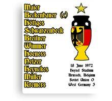 West Germany Euro 1972 Winners Canvas Print