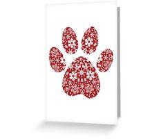 Christmas Snowflakes Dog Paw Print Greeting Card