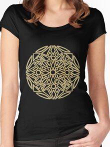 Golden mandala on black - OneMandalaADay Women's Fitted Scoop T-Shirt