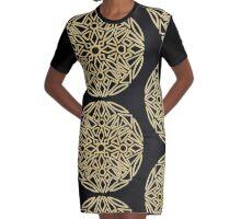 Golden mandala on black - OneMandalaADay Graphic T-Shirt Dress