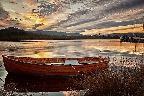 Wooden Dinghy, Franklin, Tasmania by Chris Cobern