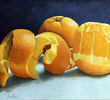 Ready for Oranges still life by LindaAppleArt