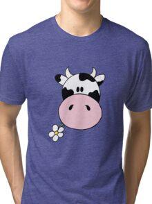 Cow munching flower Tri-blend T-Shirt