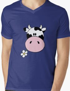 Cow munching flower Mens V-Neck T-Shirt
