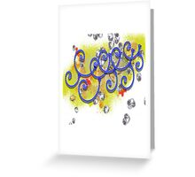 Blue-Swirl-Rope Abstract Design Greeting Card