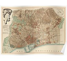 Antique Map of Barcelona, Spain from 1891 Poster
