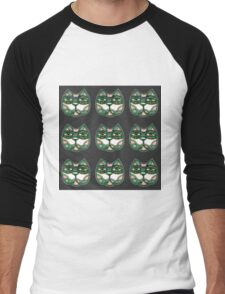 Cat green pattern grey Men's Baseball ¾ T-Shirt