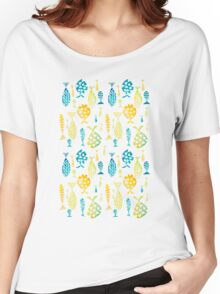 Watercolor Fish Bright Yellow, Green, Teal on White Women's Relaxed Fit T-Shirt