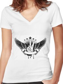 Vector Illustration - Symbol Victory And Wings Women's Fitted V-Neck T-Shirt