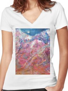 Moon Over the Mountains Women's Fitted V-Neck T-Shirt