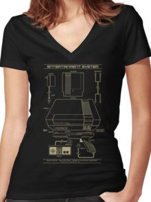 Entertainment System Women's Fitted V-Neck T-Shirt