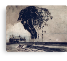 Landscape with Three Trees Canvas Print